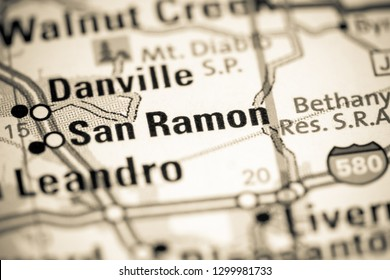 San Ramon. California. USA on a map
