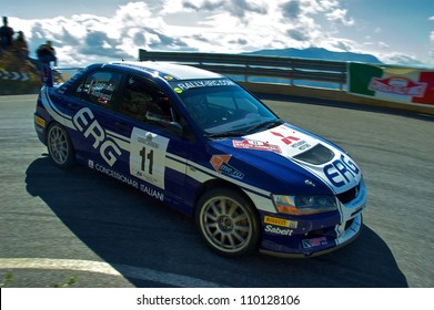 SAN REMO, ITALY - SEPTEMBER 29: Italian rally driver Paolo Andreucci racing in the 50th Rally di Sanremo. September 29, 2007 in Sanremo, Italy