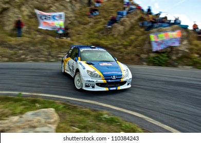 SAN REMO, ITALY - SEPTEMBER 29: Italian driver Fabrizio Guerra driving his Peugeot 206 S1600, racing in the 50th Rally di Sanremo. September 29, 2007 in Sanremo, Italy