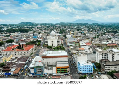 San Salvador City / El Salvador - September 15, 2012: An aerial view of the city of San Salvador taken from a salvadoran aerial forces helicopter.
