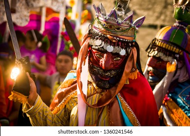 SAN SALVADOR, EL SALVADOR- 16 JANUARY 2016: Traditional dance El Salvador 'Historiantes'