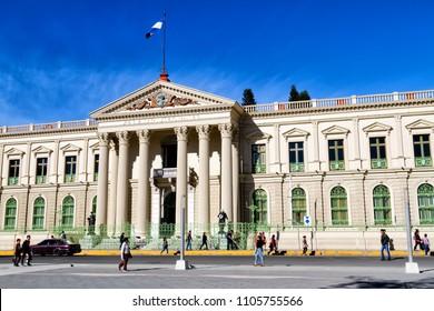 SAN SALVADOR, EL SALVADOR - FEB 2: Government building in San Salvador - the capital of El Salvador on Feb 2, 2018.