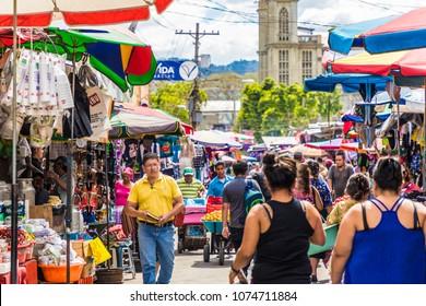 San Salvador, El Salvador.  February, 2018. A view of  the market on Calle Poniente, in San Salvador, El Salvador.