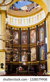 SAN SALVADOR, EL SALVADOR - JAN 27, 2018: Interior of Basilica in San Salvador - the capital of El Salvador