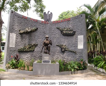 SAN SALVADOR, EL SALVADOR-MAY 4, 2007:  Monument to the country's military outside the Military Museum of El Zapote Baracks.