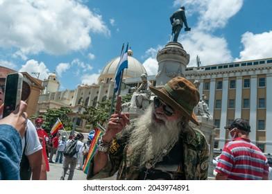 San Salvador, El Salvador - September 15th, 2021: A civil war veteran protester rallies in the Morazan park against the politics of current president Nayib Bukele.