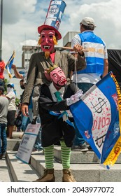 San Salvador, El Salvador - September 15th, 2021: Protester in disguise demonstrating against the bitcoin politics of current president Nayib Bukele.