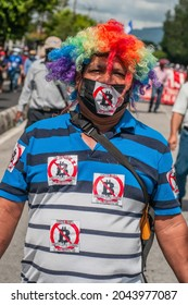 San Salvador, El Salvador - September 15th, 2021: Protesters walk in the streets of the city against the bitcoin politics of current president Nayib Bukele.