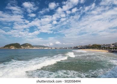 San Sebastian bay, basque country, Spain.
