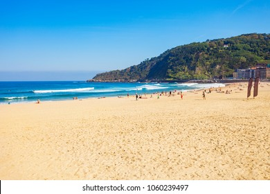 San Sebastian city beach in the Donostia San Sebastian city, Basque Country in northern Spain