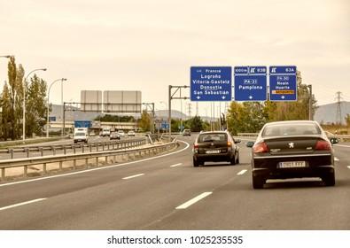 San Sebastian, Donostia, Basque, Spain - October 30, 2010: Lively traffic on the highway from Barcelona to France via Pamplona and San Sebastian,Spain