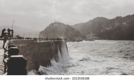 san sebastian donostia spain city wave ocean