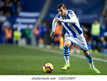 San Sebastian, northern Spain, Friday, December, 21, 2018. Theo Hernandez during the Spanish La Liga soccer match between Real Sociedad C.F and Deportivo Alaves at Anoeta stadium.