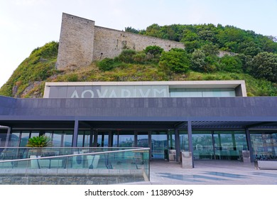 SAN SEBASTIAN, SPAIN -8 JUL 2018- View of the aquarium in San Sebastián (Donostia), Basque Country, Spain.