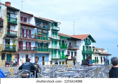 San Sebastian, Spain - APRIL 26 , 2011: Main square of Hondarribia with its colorful picturesque houses