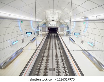 San Sebastian, Spain - August 18, 2018. A modern subway Metro station of Euskotren, also know as Topo. San Sebastian, Gipuzkoa, Basque Country, Spain.