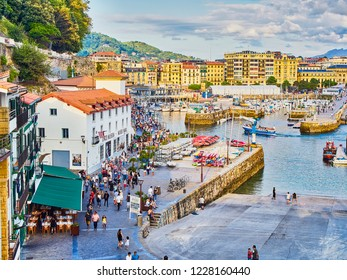San Sebastian, Spain - August 18, 2018. The port of San Sebastian with the Historical Quarter, kwon as Parte Vieja, in background at sunny day. Donostia, Basque Country, Guipuzcoa. Spain.
