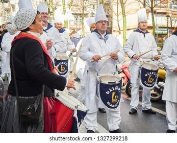 San Sebastian, Spain - January 20, 2019. Cooks Drummers drumming at the Tamborrada, the drum parade to celebrated the Day of San Sebastian, Patron Festivity of San Sebastian. Basque Country, Guipuzcoa