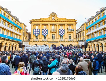 San Sebastian, Spain - January 20, 2019. Soldiers and Cooks Drummers drumming at the Tamborrada, the drum parade to celebrated the Day of San Sebastian, Patron Festivity. Plaza de la Constitution.
