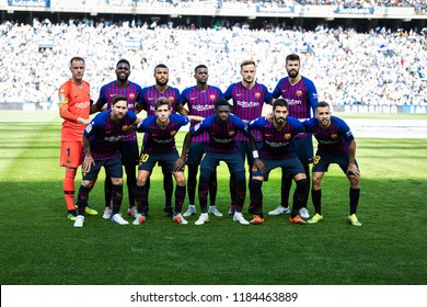 SAN SEBASTIAN, SPAIN - SEPTEMBER 15, 2018: Barcelona players poses for the press in the Spanish League match between Real Sociedad and Barcelona
