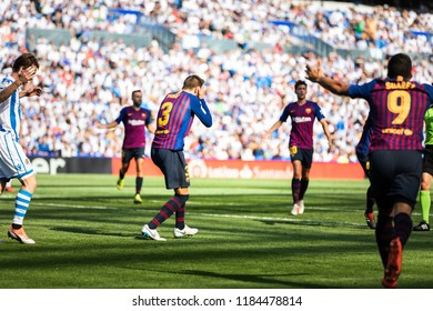 SAN SEBASTIAN, SPAIN - SEPTEMBER 15, 2018: Gerard Pique, Barcelona player in action during a Spanish League match between Real Sociedad and Barcelona