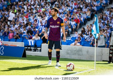 SAN SEBASTIAN, SPAIN - SEPTEMBER 15, 2018: Lionel Messi, Barcelona player in action during a Spanish League match between Real Sociedad and Barcelona