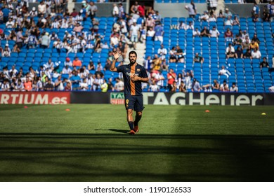 SAN SEBASTIAN, SPAIN - SEPTEMBER 15, 2018: Luis Alberto Suarez, Barcelona player in the preheating before a Spanish League match between Real Sociedad and Barcelona