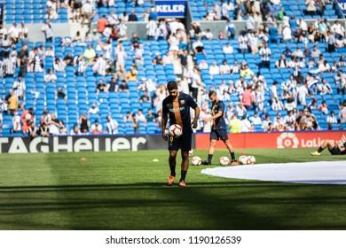 SAN SEBASTIAN, SPAIN - SEPTEMBER 15, 2018: Luis Alberto Suarez, Barcelona player in the preheating before a Spanish League match between Real Sociedad and Barcelona