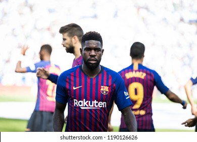 SAN SEBASTIAN, SPAIN - SEPTEMBER 15, 2018: Samuel Umtiti, Barcelona player in action during a Spanish League match between Real Sociedad and Barcelona