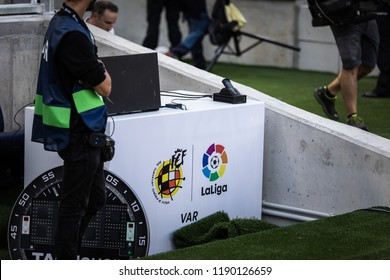 SAN SEBASTIAN, SPAIN - SEPTEMBER 15, 2018: Video Assistant Referee, VAR, in the Spanish League match between Real Sociedad and Barcelona