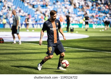 SAN SEBASTIAN, SPAIN - SEPTEMBER 15, 2018: Lionel Messi, Leo, Barcelona player in the preheating before a Spanish League match between Real Sociedad and Barcelona