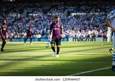 SAN SEBASTIAN, SPAIN - SEPTEMBER 15, 2018: Lionel Messi, Leo, Barcelona player in action during a Spanish League match between Real Sociedad and Barcelona