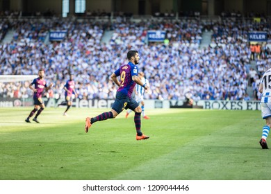 SAN SEBASTIAN, SPAIN - SEPTEMBER 15, 2018: Luis Suarez, Barcelona player in action during a Spanish League match between Real Sociedad and Barcelona