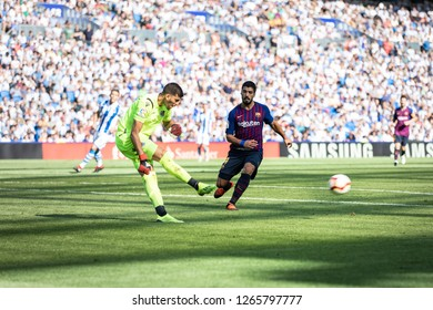 SAN SEBASTIAN, SPAIN - SEPTEMBER 15, 2018: Luis Suarez (R) and Gero Rulli (L) dispute the ball during a Spanish League match between Real Sociedad and Barcelona