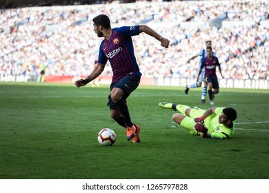 SAN SEBASTIAN, SPAIN - SEPTEMBER 15, 2018: Luis Suarez (L) and Gero Rulli (R) dispute the ball during a Spanish League, La Liga, match between Real Sociedad and Barcelona