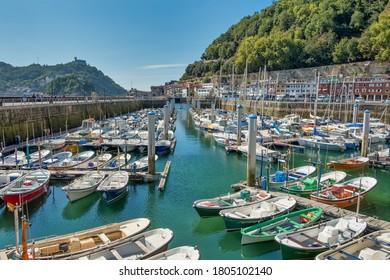 San Sebastian, Spain-August, 26,2020;Port and neighborhood of La Jarana in San Sebastian, Guipuzcoa, Spain.