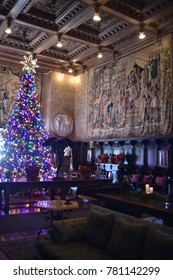 San Simeon, CA., U.S.A.  December 6, 2017. William R. Hearst Castle. San Simeon California State Historical Monument.  The Assembly Room where Mr. Hearst welcomed his guests for cocktails then dinner.