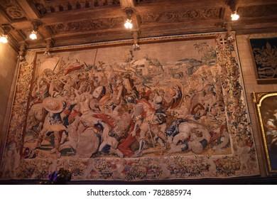San Simeon, CA., U.S.A.  December 6, 2017. William R. Hearst Castle. San Simeon California State Historical Monument.  Fine tapestry in Casa Grande assembly room