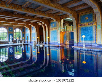 San Simeon, California, February 15, 2018:  Hearst Castle construction was begun in 1919 by William Randolph Hearst and architect Julia Morgan.
