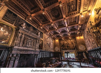 San Simeon, California / USA - May 12, 2018: The Assembly Room, Hearst Castle's grand social room in Casa Grande, where guests would meet their host, William Randolph Hearst, upon arrival.