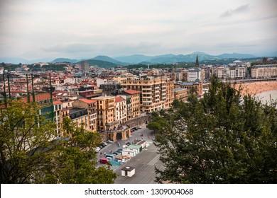 San Sebastián, Spain- July 2018: Aerial view of San Sebastián town, Donostia, Basque county, Spain