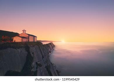 San Telmo chapel in Zumaia at the sunset. Gipuzkoa, Basque Country