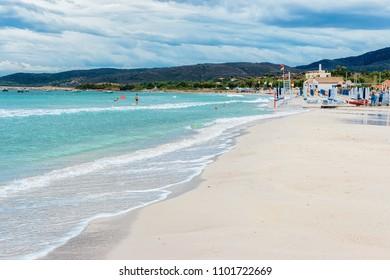 San Teodoro, Italy - September 10, 2017: Tavolara Island with La Cinta beach in San Teodoro in Sardinia, Italy
