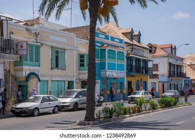 San Vicente, Cape Verde - September 29, 2015: Maritime Avenue and old colonial style houses in the city of Mindelo, capital of the island