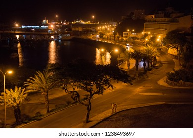 San Vicente, Cape Verde - September 29, 2015: Night view of the marine avenue and part of the port of the city of Mindelo, capital of the island