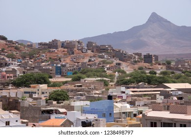San Vicente, Cape Verde - September 29, 2015: General view of a neighborhood in the outskirts of the city of Mindelo, capital of the island