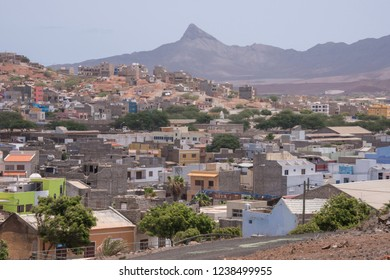 San Vicente, Cape Verde - September 29, 2015: Area of houses and industrial warehouses in a neighborhood near the industrial port of the city of Mindelo, capital of the island