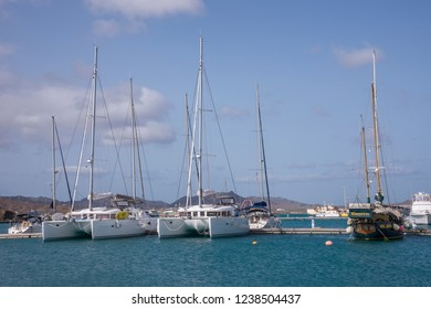 San Vicente, Cape Verde - September 29, 2015: Sailboats of private use moored in the pontoons of the Marina de Mindelo, capital of the island