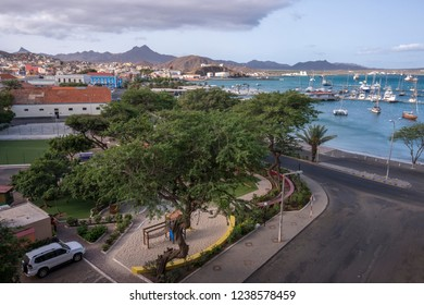 San Vicente, Cape Verde - September 29, 2015: General aerial view of the coast and maritime avenue of the city of Mindelo, current capital of the island