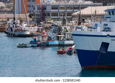 San Vicente, Cape Verde - September 29, 2015: View of different types of boats moored in the commercial port of the city of Mindelo
